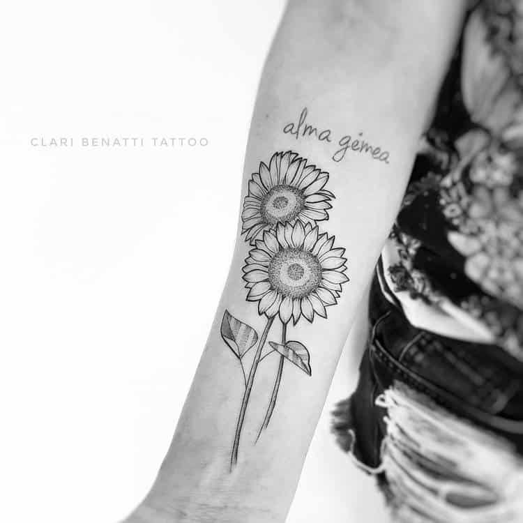 Sunflowers and Lettering Tattoo by Clari Benatti