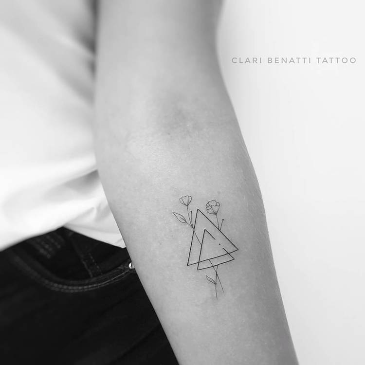 Minimalist Triangles and Flowers Tattoo by Clari Benatti