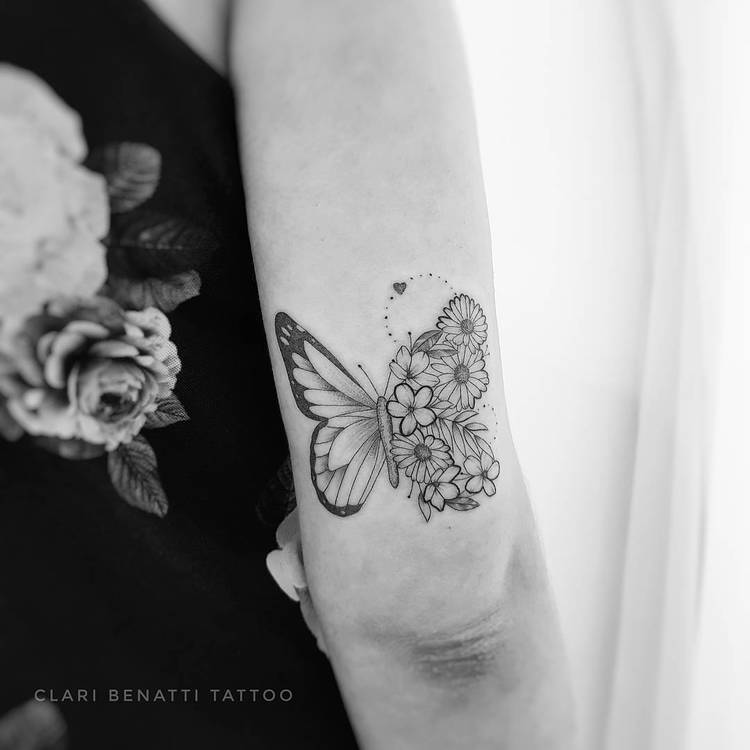 Floral Butterfly Tattoo by Clari Benatti