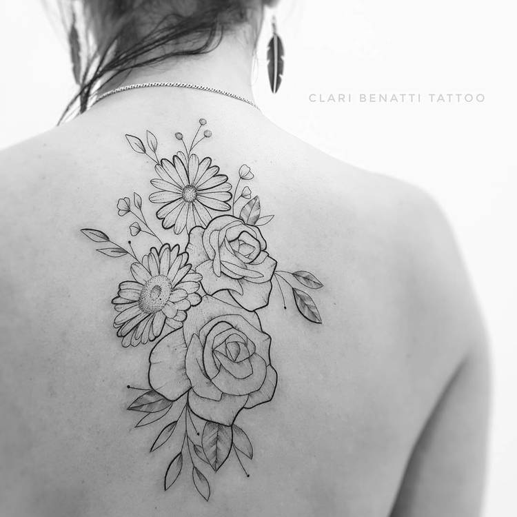 Roses and Daisies Tattoo by Clari Benatti