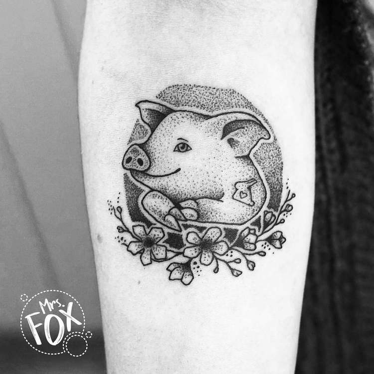 Piggy and Flowers Tattoo by Mrs Fox