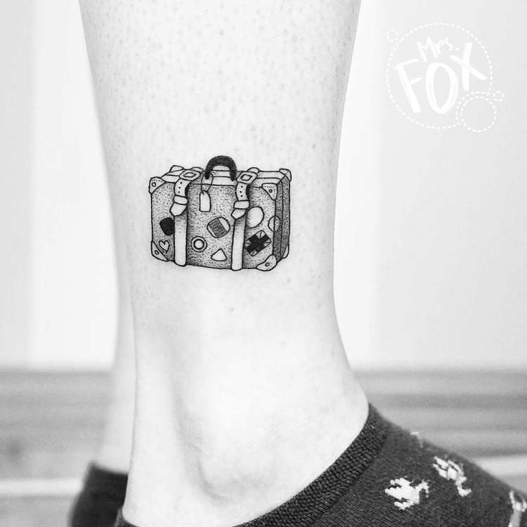 Dotwork Suitcase Tattoo by Mrs Fox