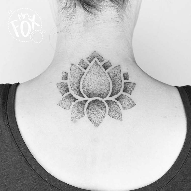 Dotwork Lotus Flower by Mrs Fox