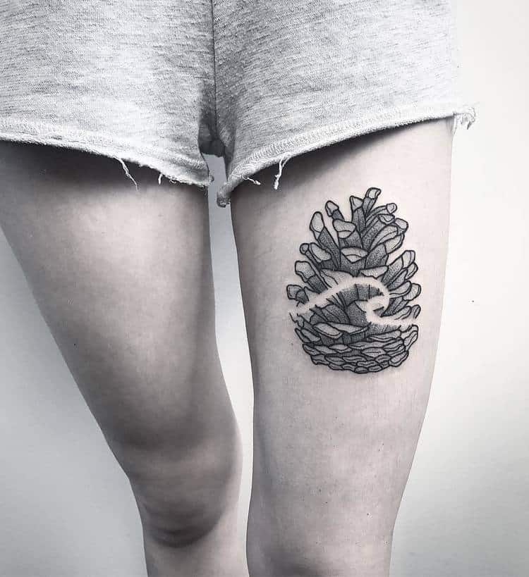 Pine Cone Tattoo by medusenoire