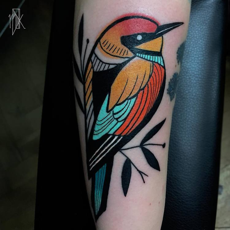 Colored Bird Tattoo by Marta Kudu