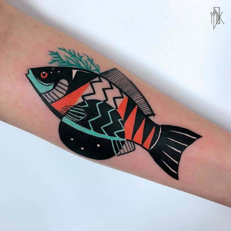 Graphic Fish Tattoo by Marta Kudu