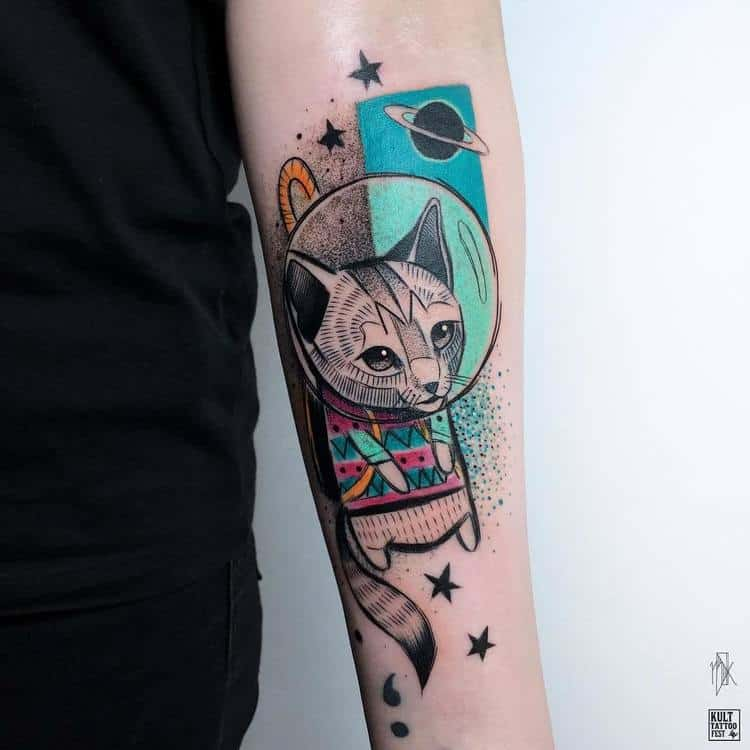 Sketch Style Space Cat Tattoo by Marta Kudu