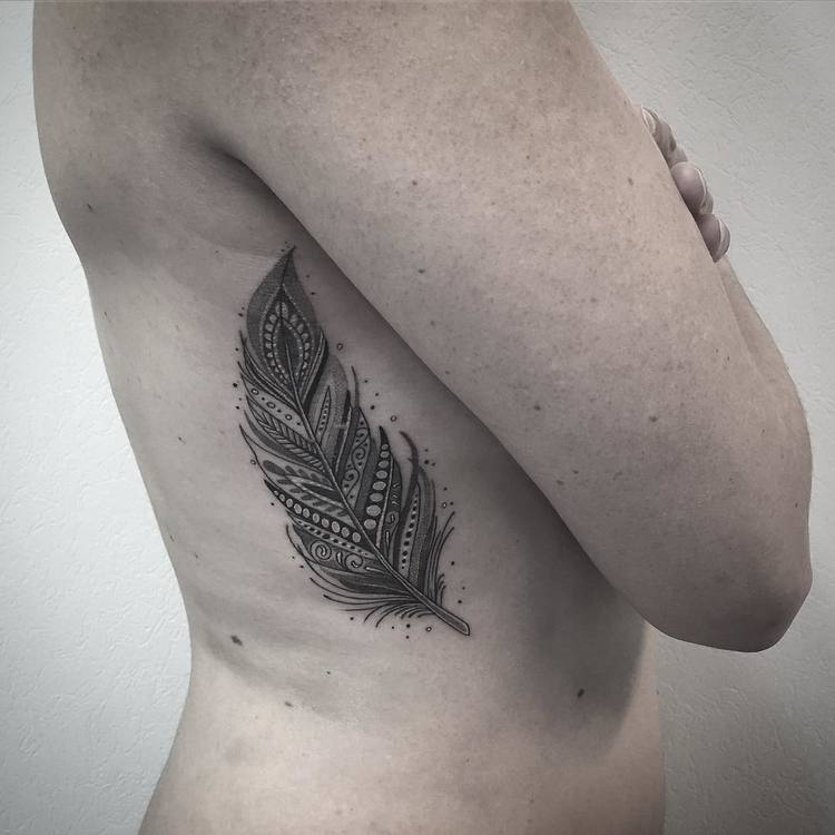 Feather Tattoo by les_petits_points_de_fanny