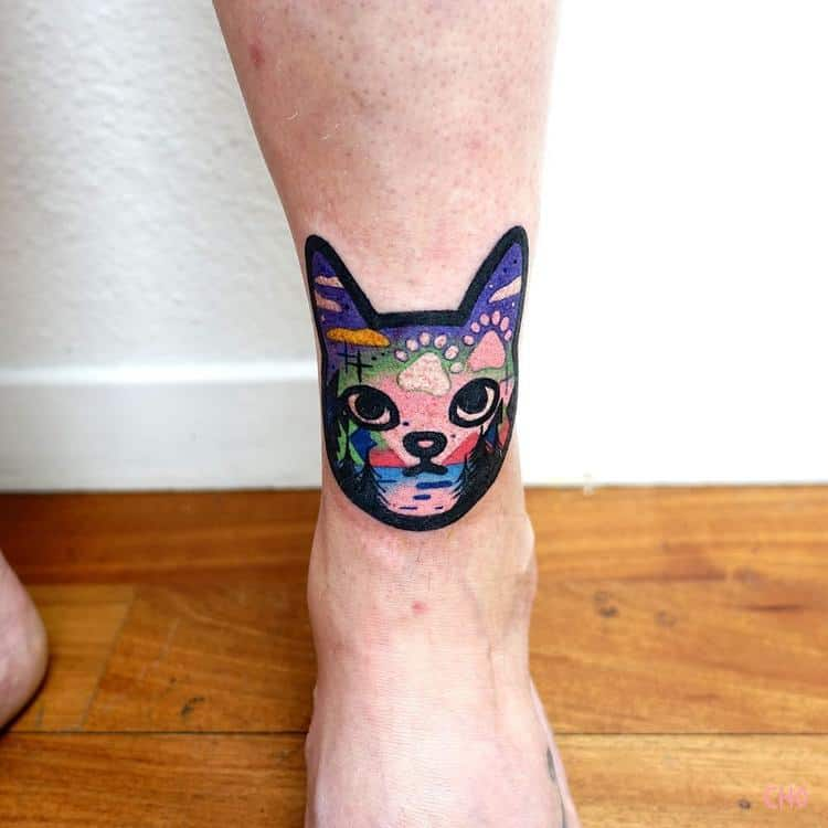 Cat and Landscape Tattoo by Chotattooer