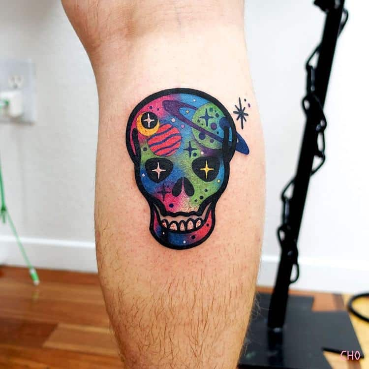 Space Skull Tattoo by Chotattooer