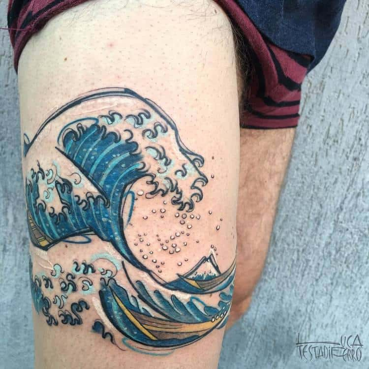 The Great Wave off Kanagawa Tattoo by Luca Testadiferro