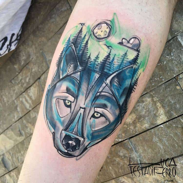 Wolf and Forest Tattoo by Luca Testadiferro