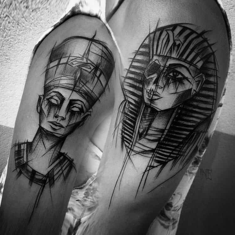 Sketchy Nefertiti and Tutankhamen Tattoos by ineepine
