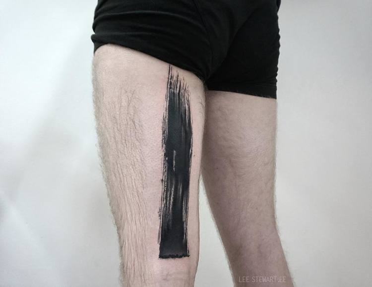 Blackwork Brush Stroke Tattoos by Lee Stewart
