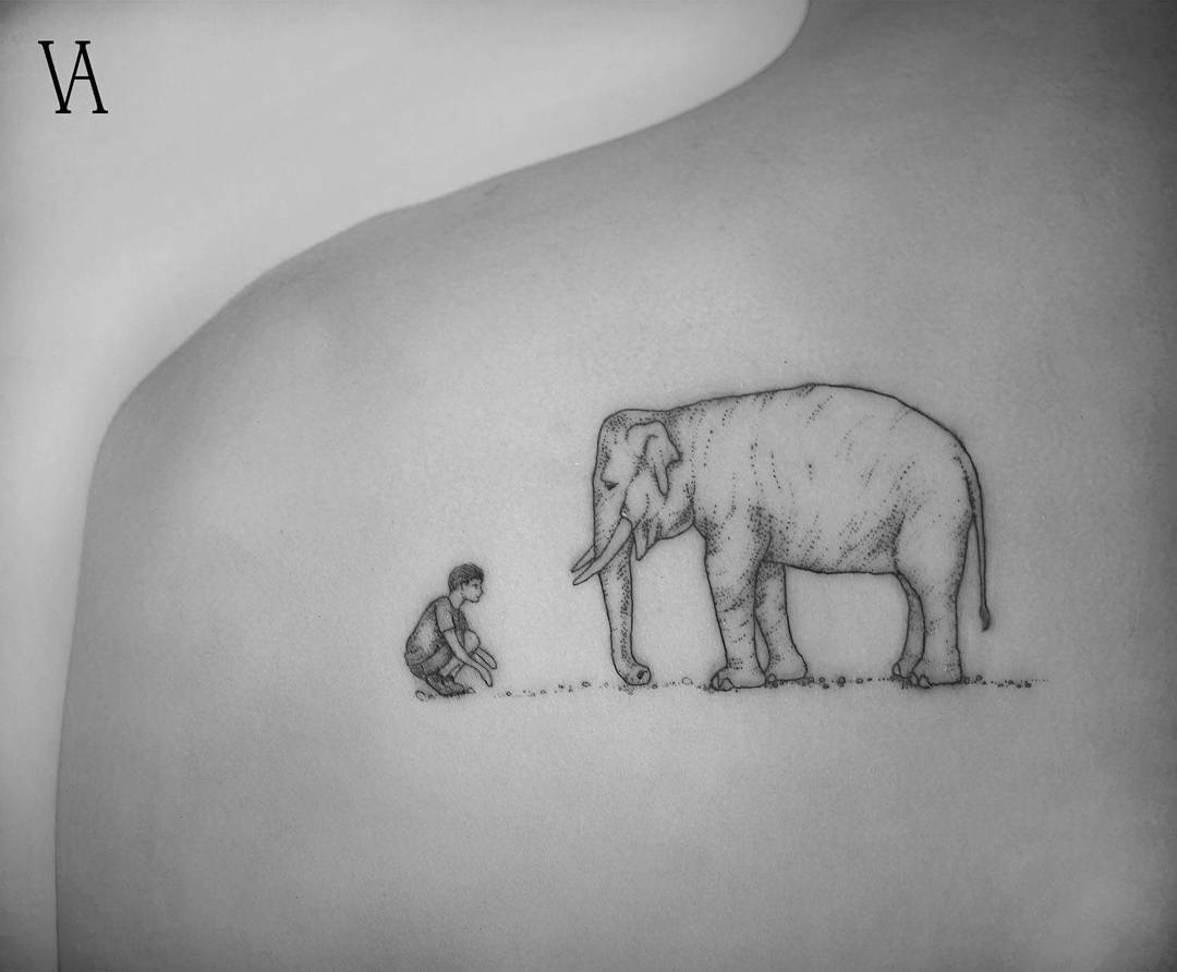 Elephant Tattoo by violeta.arus