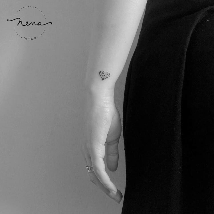 Tiny Heart Tattoo by Nena_Tattoo