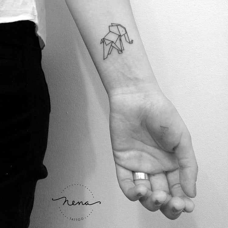 Origami Elephant Tattoo by Nena_Tattoo