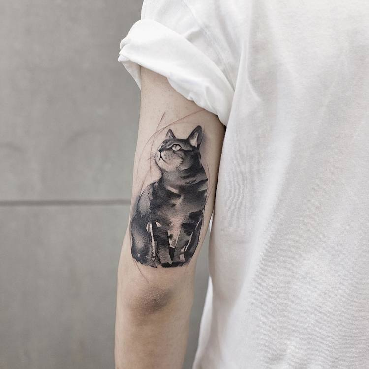 Cat Tattoo By Chen Jie