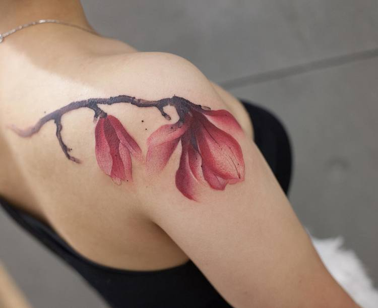 Magnolia Tattoo By Chen Jie