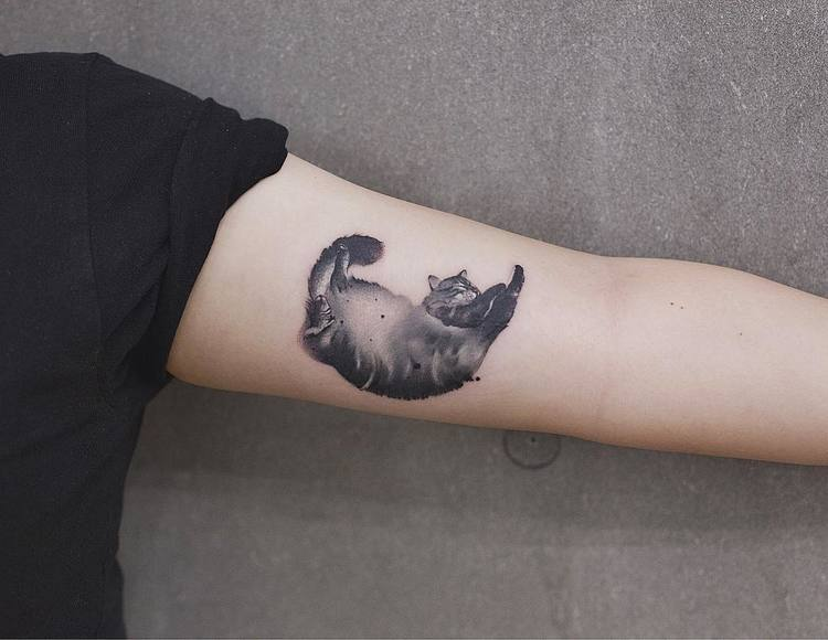 Watercolor Cat Tattoo By Chen Jie