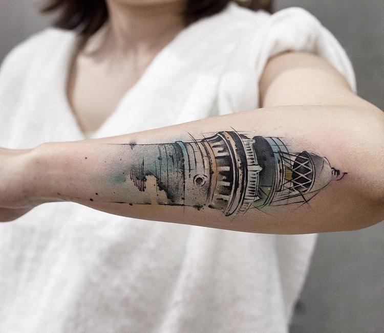 Lighthouse Tattoo By Chen Jie
