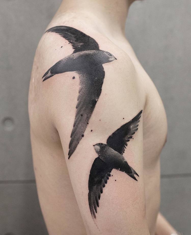 Swallow Tattoos By Chen Jie