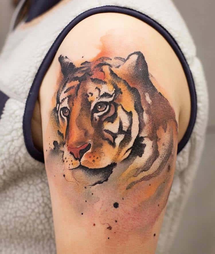 Watercolor Tiger Tattoo By Chen Jie