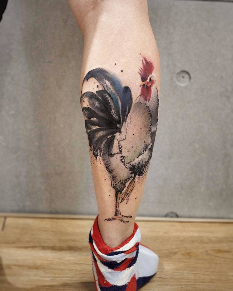 Rooster Tattoo By Chen Jie