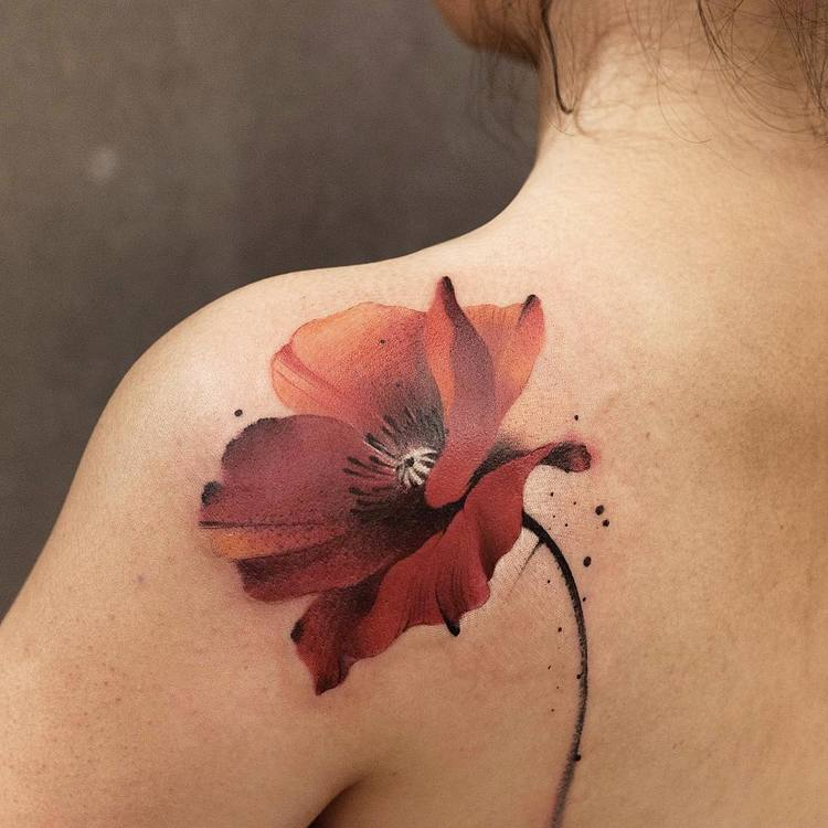 Red Poppy Tattoo By Chen Jie