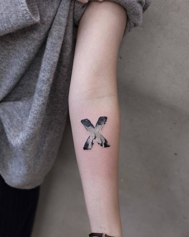 Watercolor 'X' Tattoo By Chen Jie