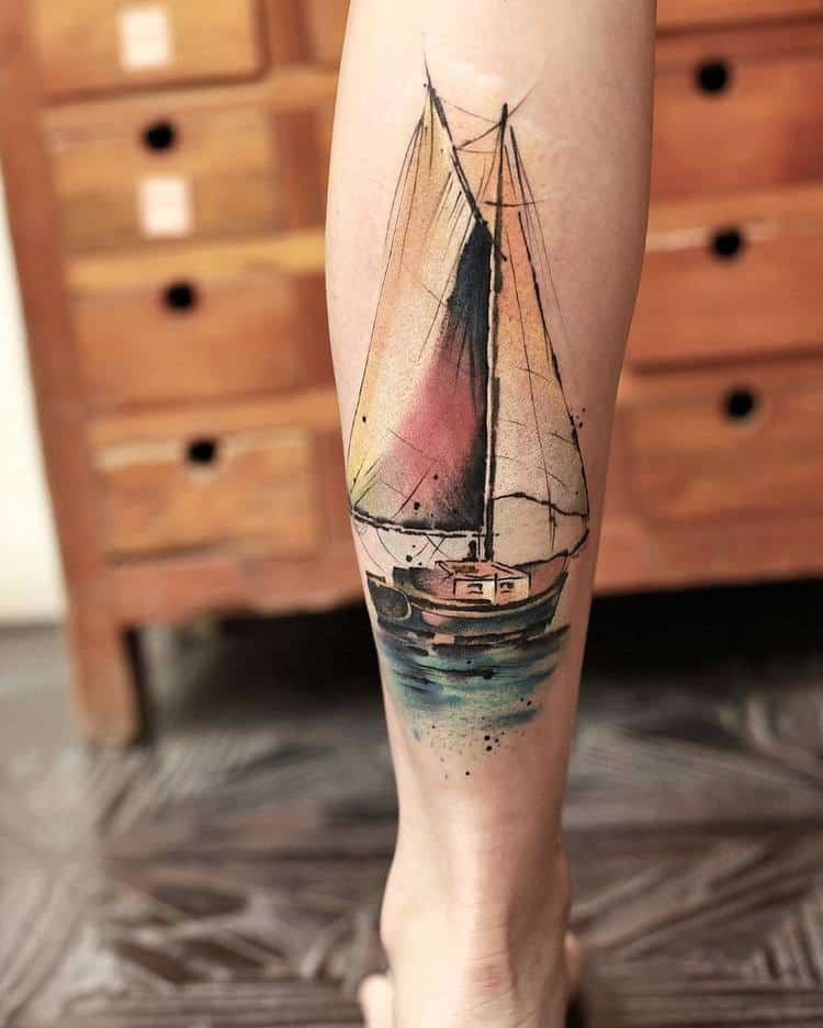Sail Boat Tattoo By Chen Jie