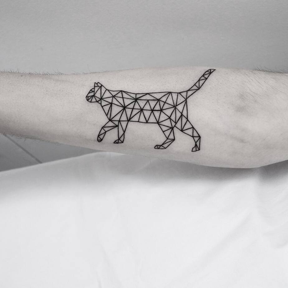 Geometric Cat Tattoo by Malvina Maria Wisniewska