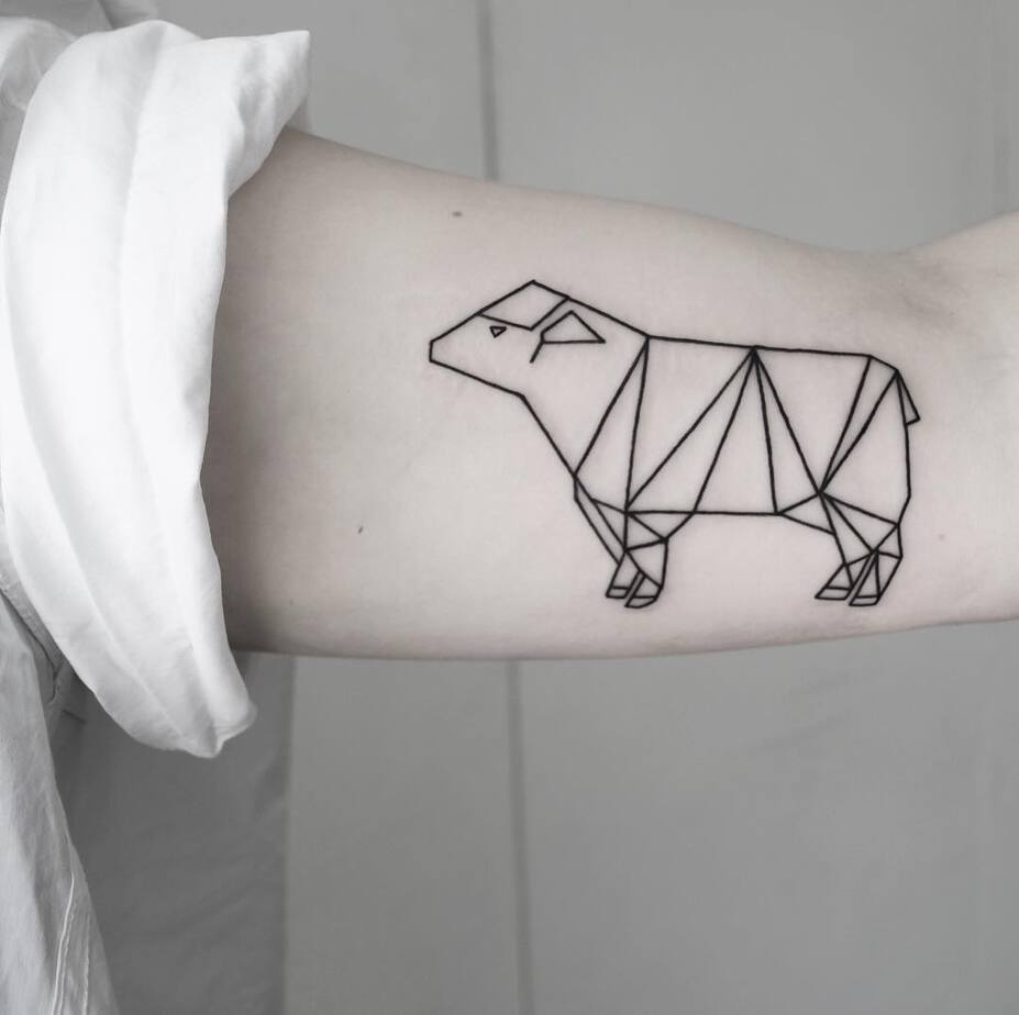 Geometric Sheep Tattoo by Malvina Maria Wisniewska