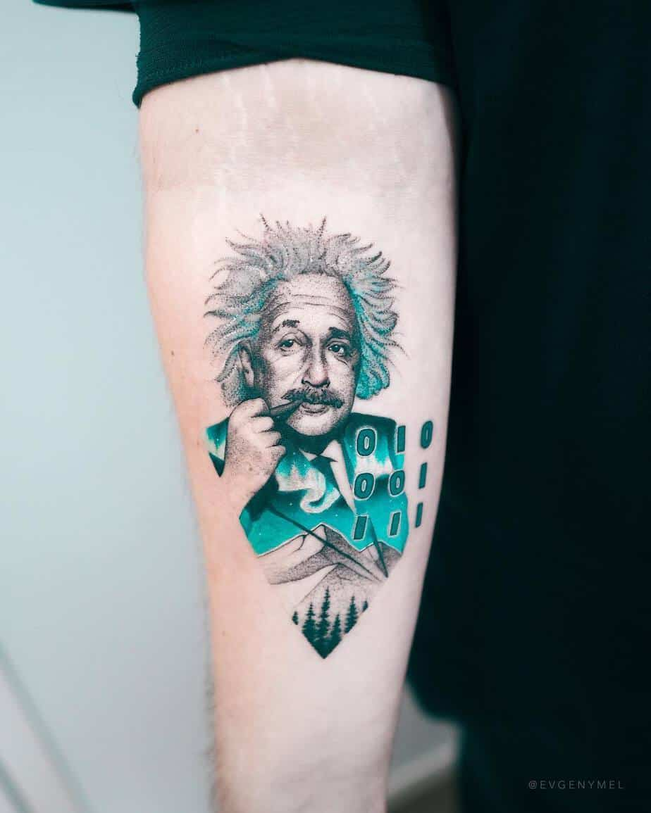 Einstein Tattoo and Binary Code by Evgeny Mel