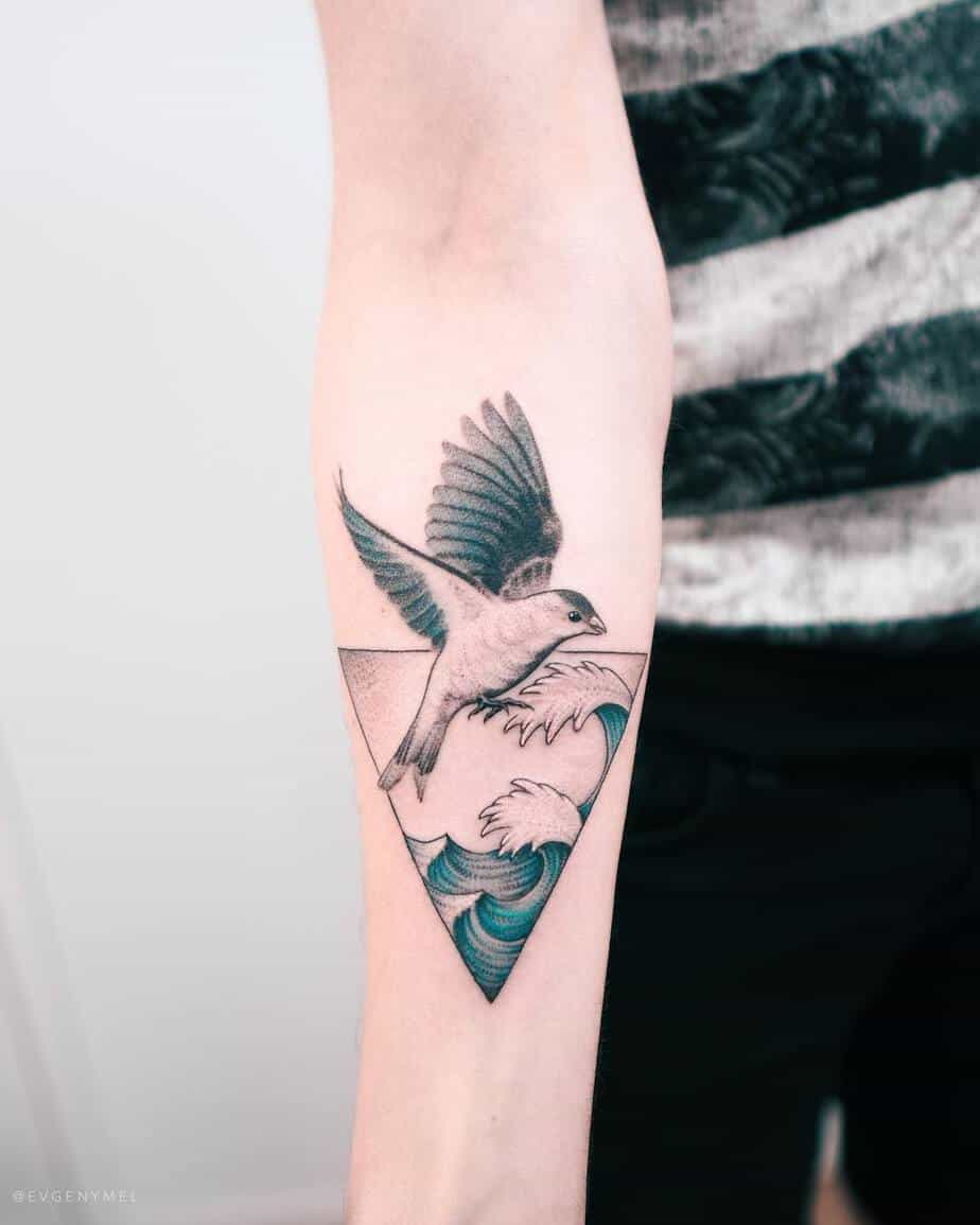 Bird and Wave Tattoo by Evgeny Mel