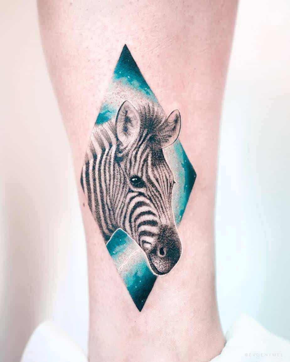Zebra Head Tattoo by Evgeny Mel