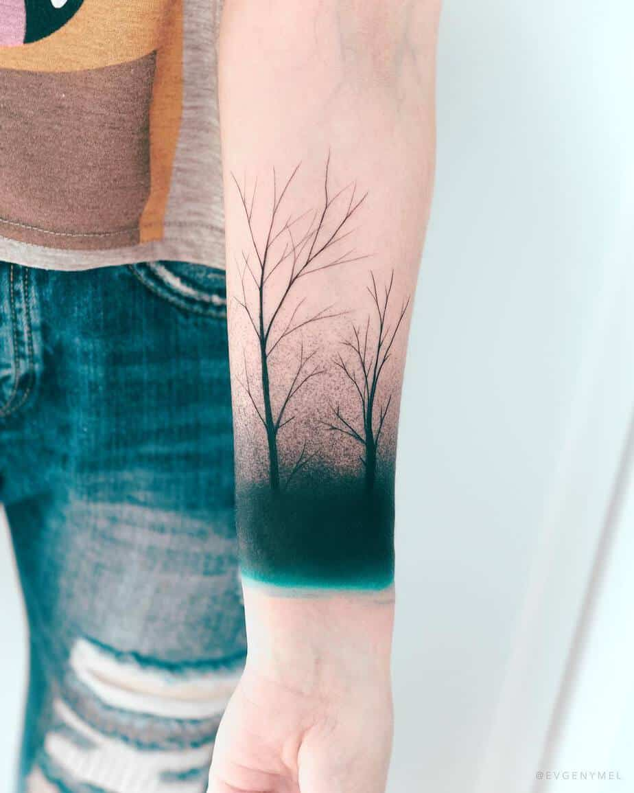 Mystic Forest Tattoo by Evgeny Mel