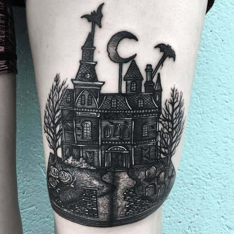 Pop-up Book with Haunted House on Thigh