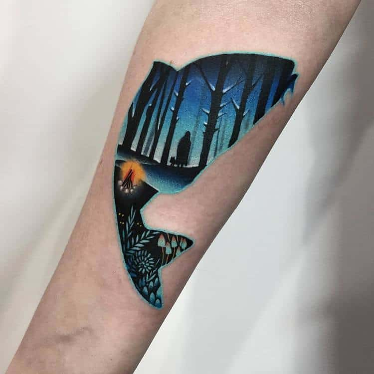 Dark Forest Inside Fish Silhouette by dariastahp