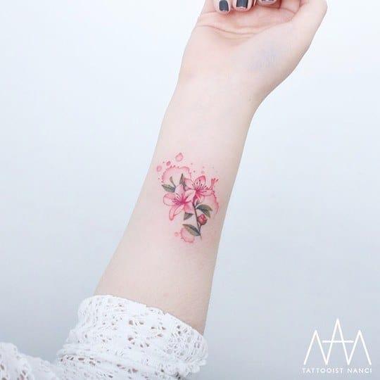 Watercolor Azalea Flower Tattoo by Tattooist Nanci