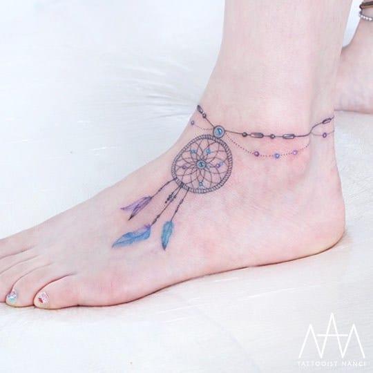 Gorgeous Anklet Dreamcatcher Tattoo by Tattooist Nanci