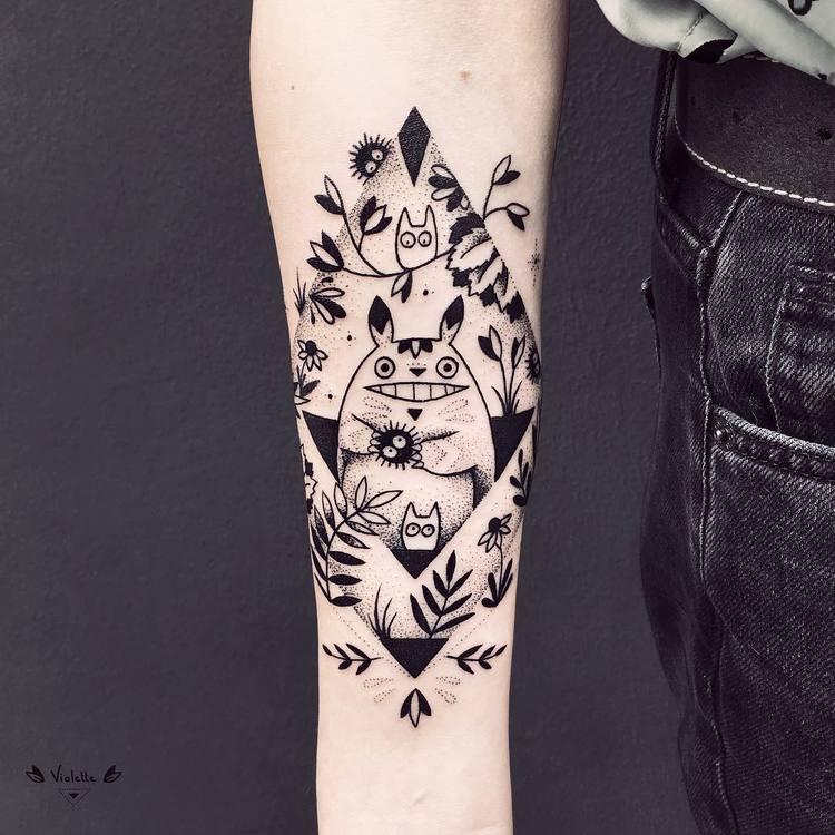 Japanese Inspired Blackwork Tattoo by violette_bleunoir