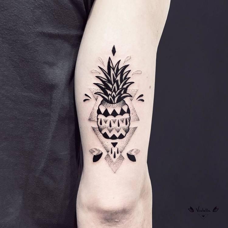Blackwork and Dotwork Ananas Tattoo by violette_bleunoir