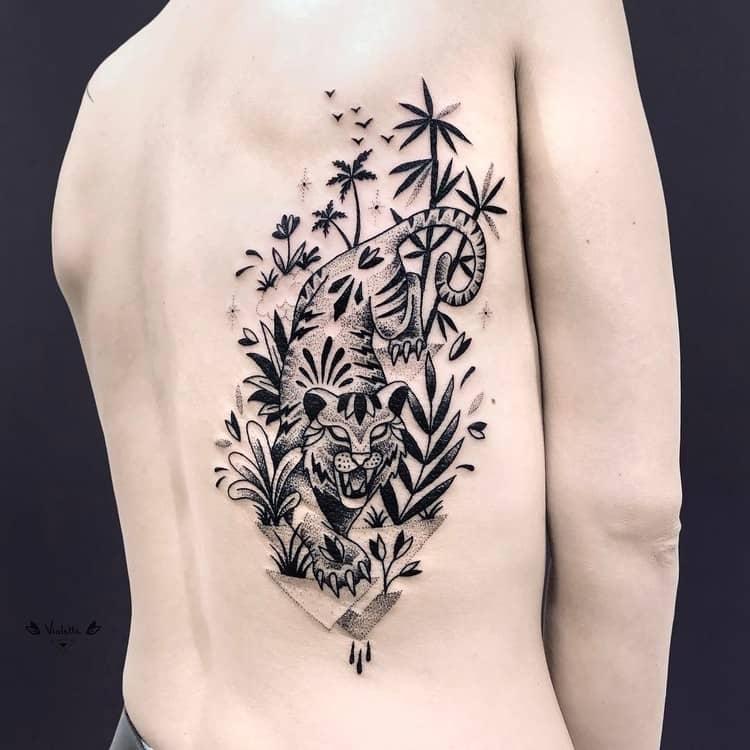 Tiger and Vegetation Tattoo by violette_bleunoir