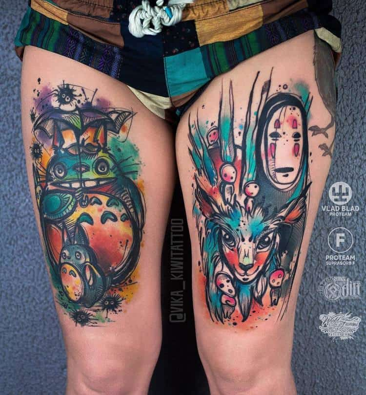 Japanese Inspired Watercolor Tattoos by vika_kiwitattoo