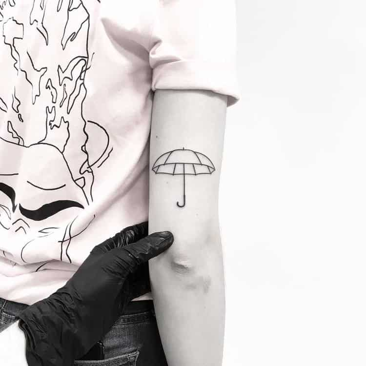 Hand Poke Umbrella Tattoo by Pokeeeeeeeoh