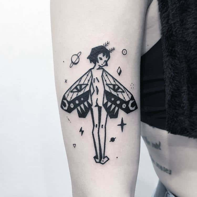 Moth Girl and Space Elements by Greemtattoo