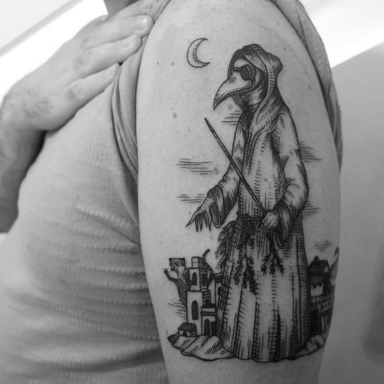 Plague Doctor Tattoo by ill.tidings