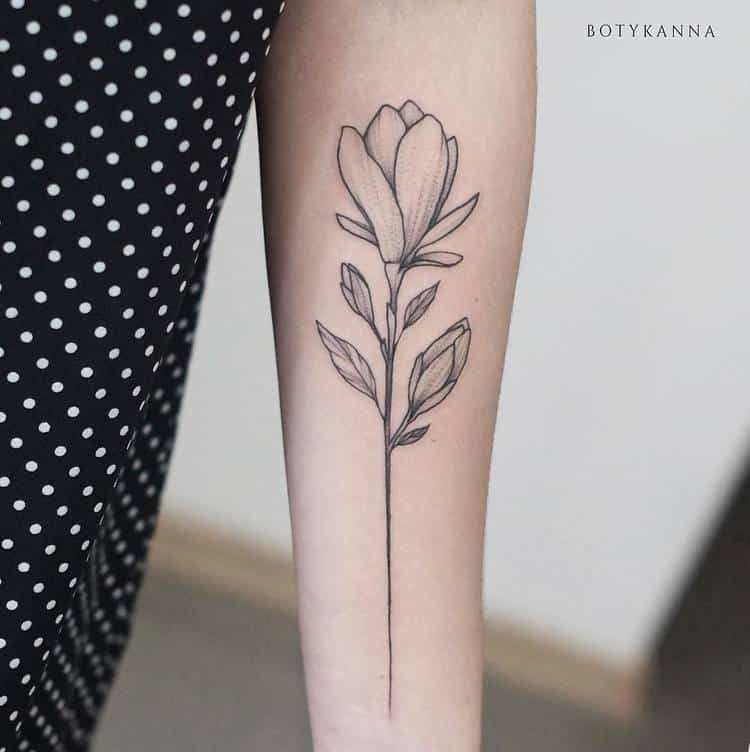 Magnolia Flower Tattoo by Anna Botyk
