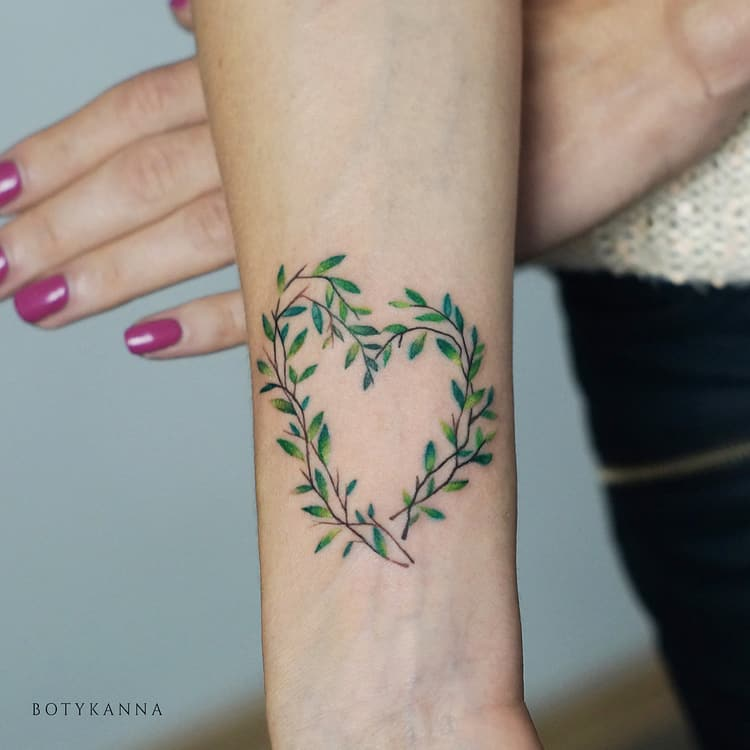Botanical Heart Tattoo by Anna Botyk